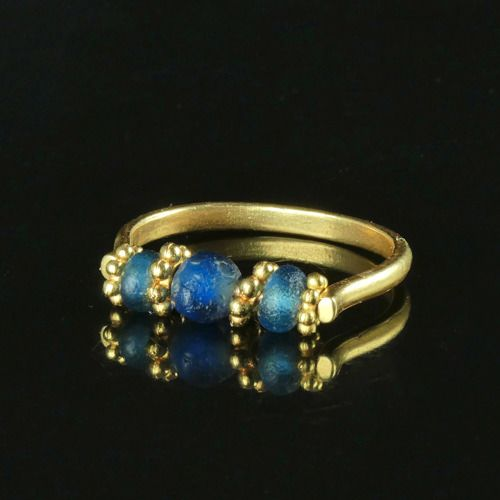 Ancient Roman Glass Ring with blue glass beads - (1)
