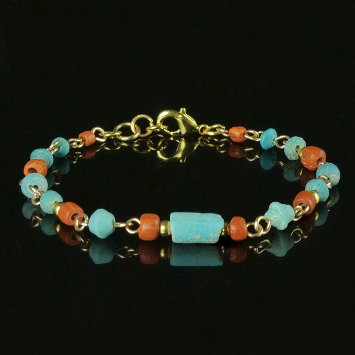 Ancient Roman Glass Bracelet with turquoise and orange glass beads - (1)