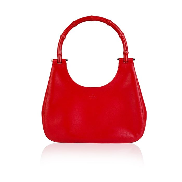 Gucci - Red Leather Hobo Bag with Bambbo Handle Shoulder bag