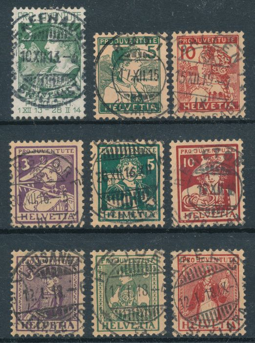 Switzerland 1913/1917 - Pro Juventute beautifully centrally cancelled 29-61