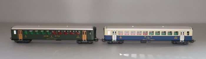 HAG H0 - 460 - 401 - Passenger carriage - 1 x EWI 2nd class carriage - 1 x 2nd class carriage BLS - BLS, SBB