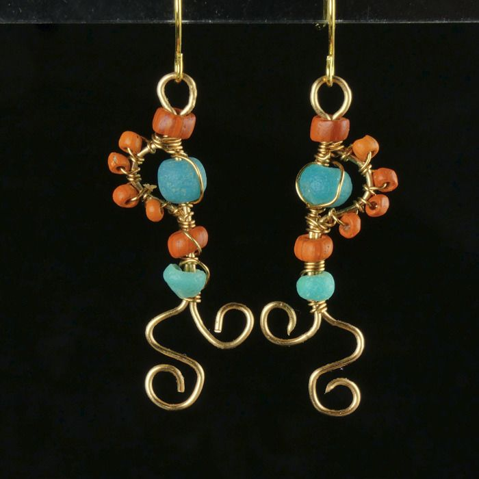 Ancient Roman Glass Earrings with turquoise and orange glass beads - (1)