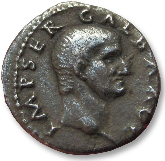 Romeinse Rijk. Galba (68-69 n.Chr.). Denarius,Rome mint AD 68-69 - SPQR OB C S within wreath - rare coin from a shortlived emperor