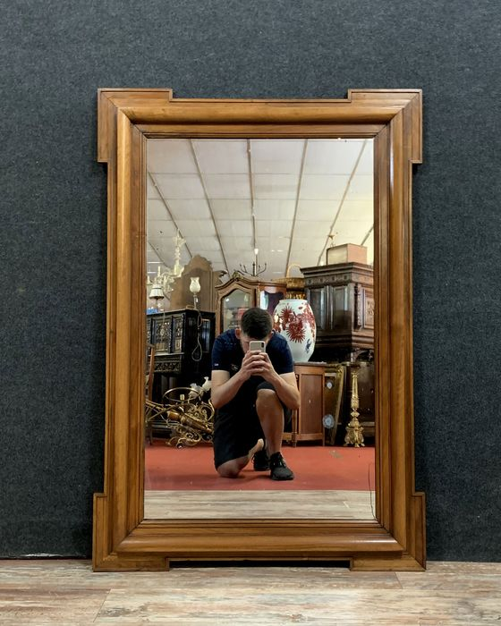 Large mirror with corner cut-outs (h. 125cm) - Walnut - Early 20th century