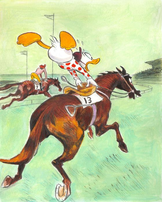 Donald Duck Inspired by Tolouse-Lautrec (1899) - Original Painting - Tony Fernandez Signed - Akril művészet