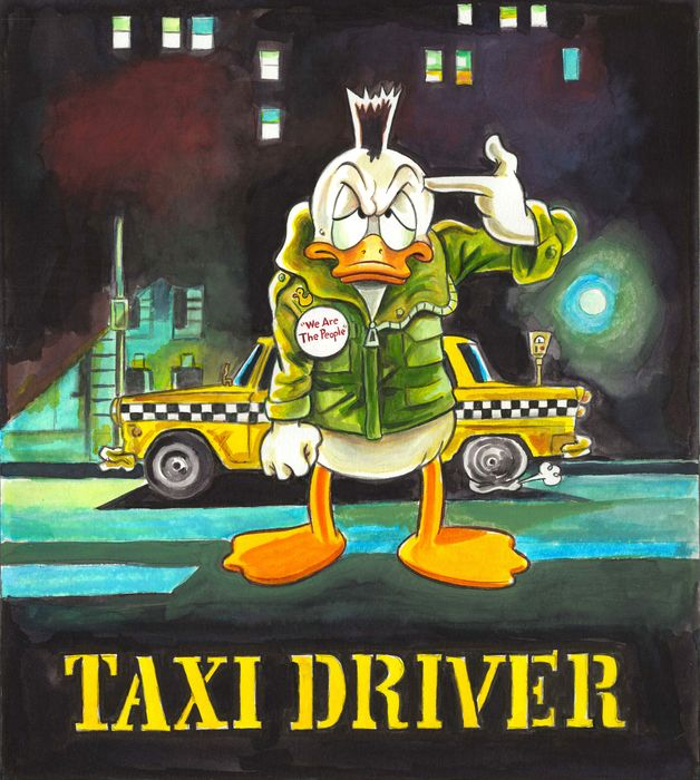 Donald Duck inspired by Taxi Driver - Original Painting - Tony Fernandez Signed - Acryl Art