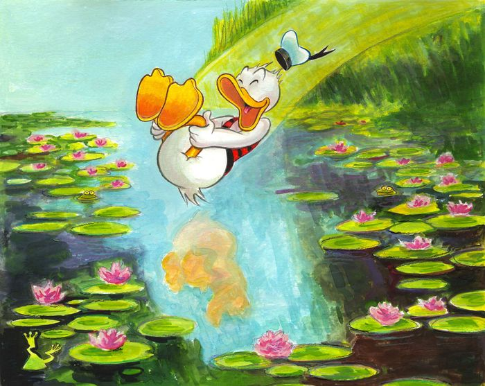"Donald Duck Inspired By Monet ""Nymphéas"" - Original Painting - Tony Fernandez Signed - Ακρυλικό τέχνη"
