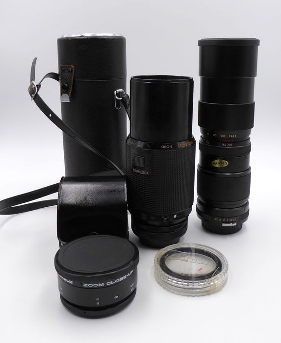 Canon, Vivitar, Kiron Lenses 70-210mm Macro 1:4, Tele-Zoom 85mm-205mm AUTO 1:3.8, Bower variable zoom e 58 mm filtro