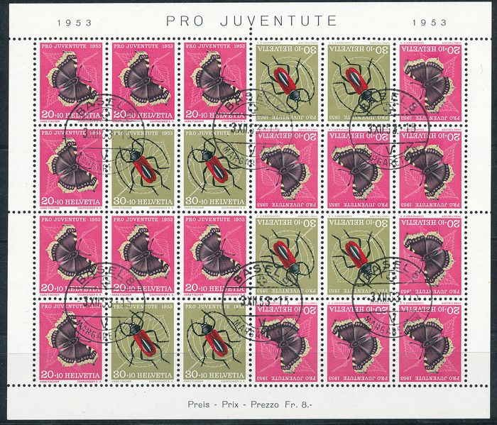 Switzerland 1953 - Pro Juventute, the insect sheetlet JOZ41