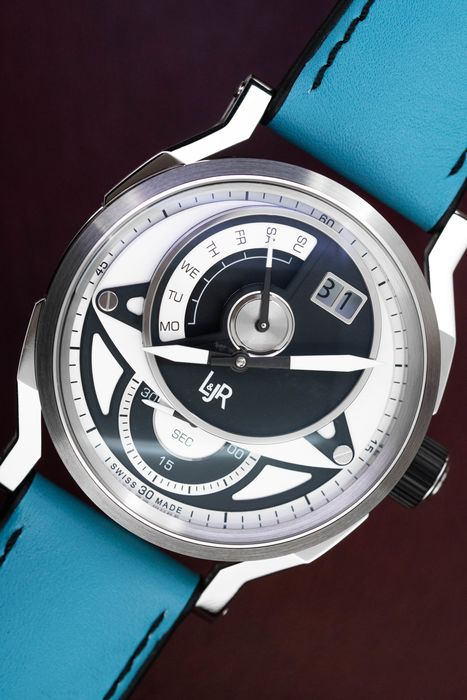 L&Jr - Day and Date Black and Grey Dial with Blue Strap + Extra Black Strap  - S1303-S9 - Men - 2011-present