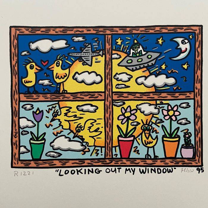 James Rizzi - Looking Outside My Window / handsigned