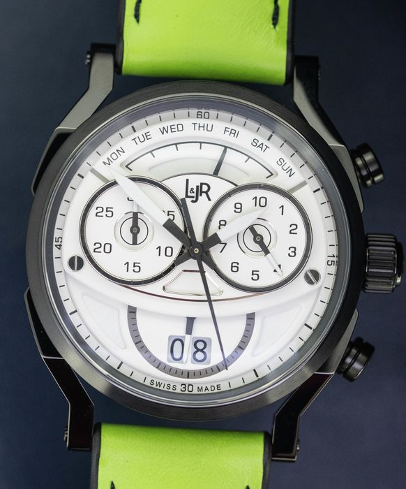 L&Jr - Chronograph Day and Date White Dial with Green Strap + Extra Grey Strap - S1501-S11 - Men - 2011-present
