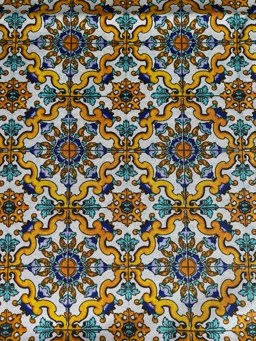 m2.8x2.7 fabric panama fantasy moresca amalfitana - white base with blue tones decorations in cotton blend - Second half 20th century