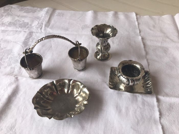 Containers (5) - .800 silver - Italy - 20th century