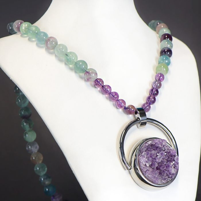Top Quality Amethyst Druse and Fluorite Beads Necklace with silver hook - 350×50×17 mm - 155 g