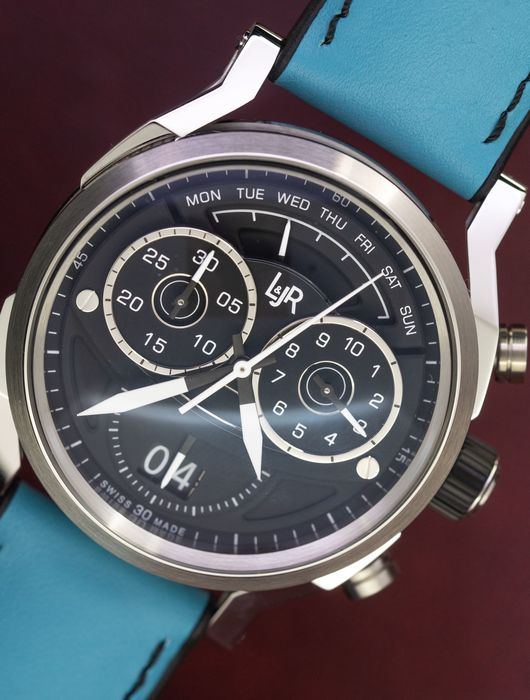 L&Jr - Chronograph Day and Date Black Dial with Blue Strap + Extra Black Strap - S1502-S9 - Herren - 2011-heute