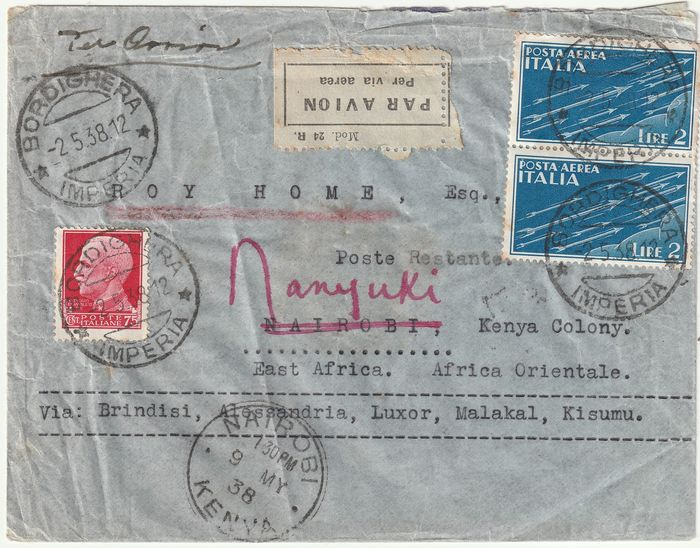 Italy Kingdom 1938 - African air destinations - in rate 4.75 l. from Bordighera to Kenya