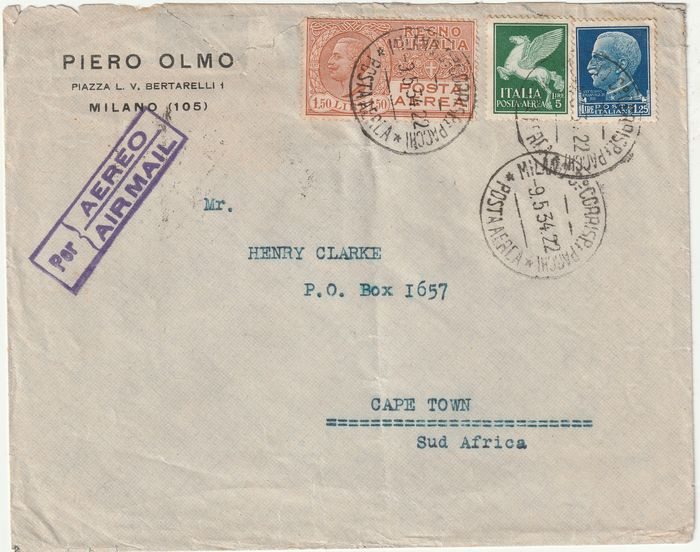 Italy Kingdom 1934 - Air destinations in Africa - letter with 7.75 lire fare from Milan to the Union of South Africa