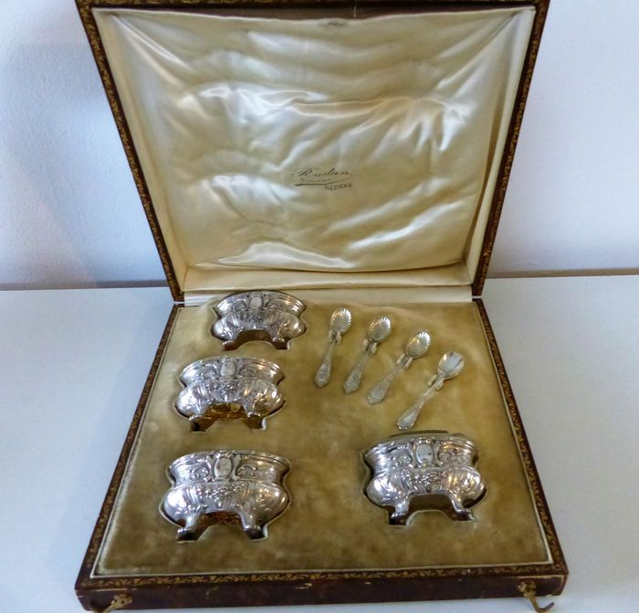 Suite of 4 salt and teaspoons - Maillard - Silver - France - Early 20th century
