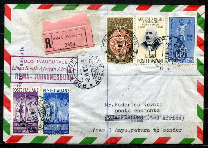 Italy Republic 1950 - Aerogramme Rome-Johannesburg with Broadcasting complete and other values - Sassone NN. S.142, 619, 632, 633