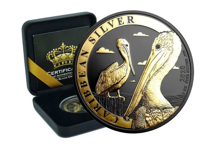 Barbados - 1 Dollar 2020 Caribbean Silver Pelican Gold Black Empire Edition in Box - 1 Oz - Silver