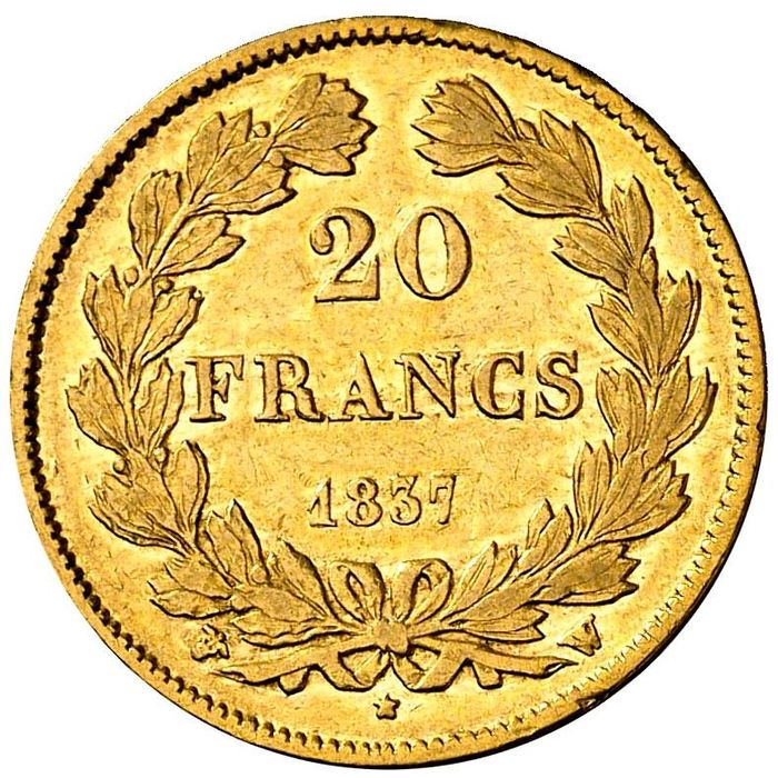 France - Louis Philippe I - 20 Francs 1837-W (Lille) - Gold