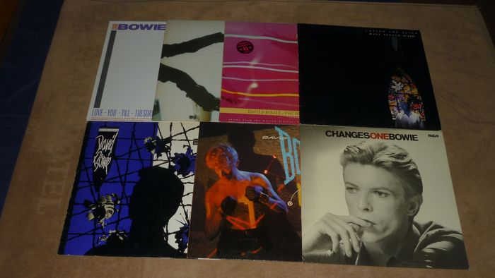 "David Bowie - 7 records - Lodger-ChangesoneBowie-Let's dance-Love you-America-Blue Jean-Alien - Multiple titles - LP's, Maxi single 12""inch - 1980/1985"