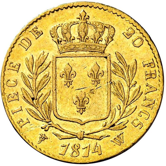 France - Louis XVIII - 20 Francs 1814-W (Lille) - Gold