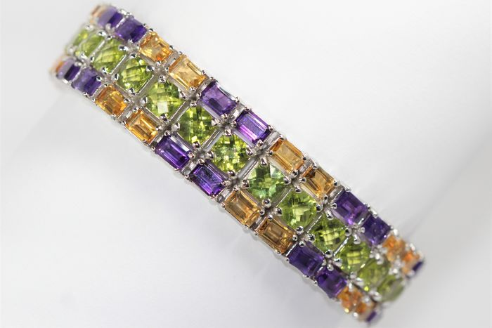 18k (gold plated) Silver bracelet set with amethyst, citrine and peridot Polished - 56.8 g