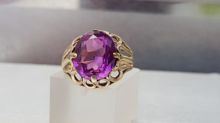 Vintage (1970's Era) Amethyst  Faceted Cut Solitaire- Shades of Purple - 9ct 375- UK Hallmark Oro giallo - Anello Ametista
