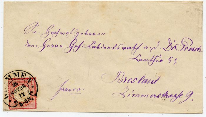 "German Empire - good horseshoe postmark ""GRIMMEN"" Spalink 15 single franking no. 19 to Wroclaw"