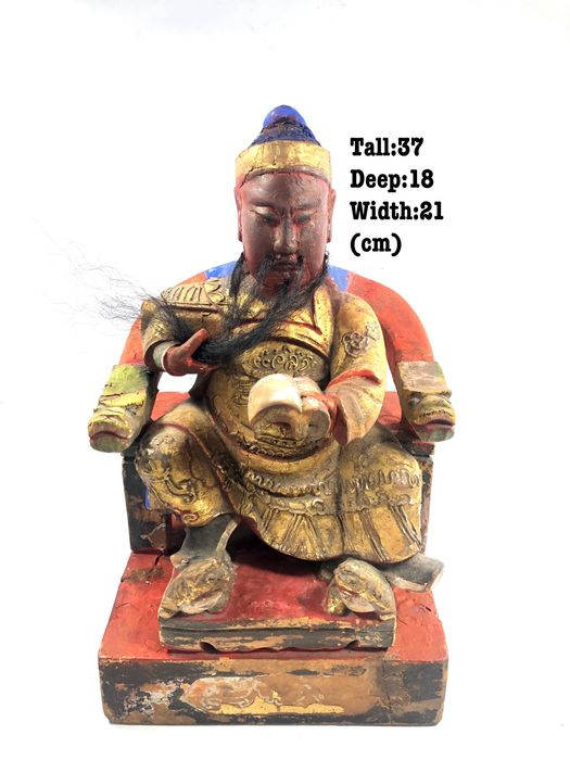 Statue - Wood - Guan Gong Mineral Paints - China - Late 19th century