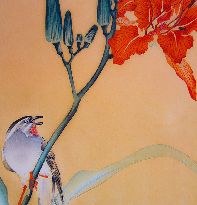 Original woodblock print - Ohara Koson (1877-1945) - Bunting perched on the stem of a flower - Japan - ca 1900-10s