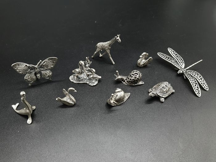 Silver miniature (10) - .800 silver - Italy - Mid 20th century