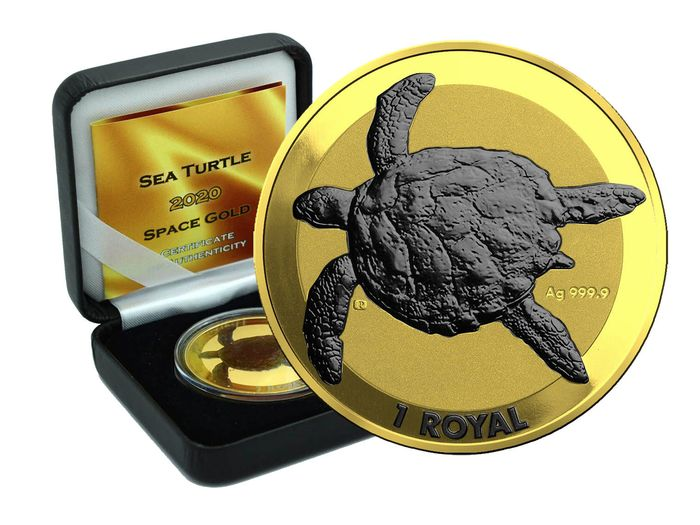 British Indian Ocean Territory. 1 Royal 2020 -  Sea Turtle Gold Space Edition - 1 Oz