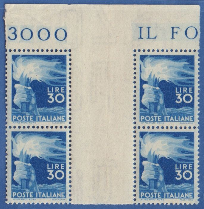 Italien Republik 1947 - Democratica 30 lire blue block of 4 group gutter margin with top margin - Unificato N. 563