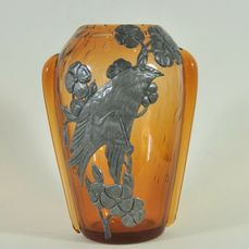 Jugendstil glass vase, applied metal decoration