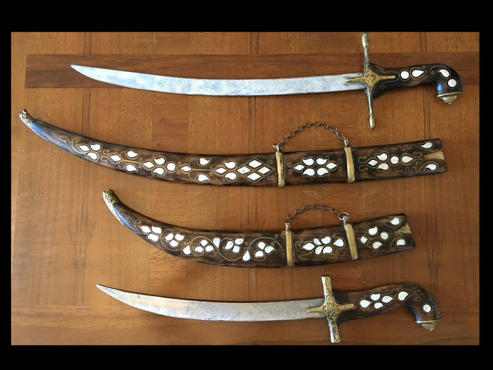 Decorative swords (2) - Brass, Mother of pearl, Steel, Wood - Mid 20th century