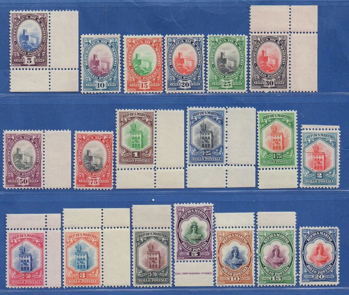 San Marino 1929 - San Marino 1929 - complete set Government Building view and Liberty, 19 values MNH - excellent quality - Sassone S. 28a