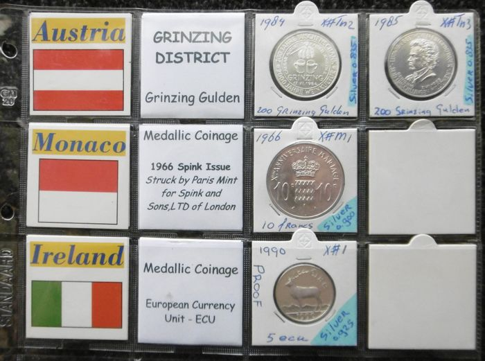 World - 1966-1990 various countries (4 pieces) - Silver