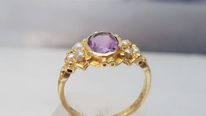 Vintage (London 1966) Amethyst & Pearl Ring- Old - 9ct 375-London Hallmark Oro giallo - Anello Ametista - Perla