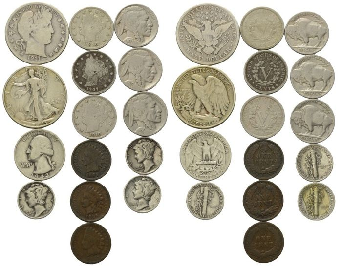 USA - Lot of 15 coins 1887-1945 in silver and bronze