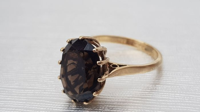 Vintage (1971) Faceted Smokey Quartz - 9ct 375- UK Hallmark Oro giallo - Anello - 4.20 ct Smokey Quartz