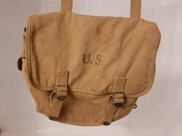 United States of America - Rare WW2 M-1936 Musette Bag - Named to soldier! - Airborne - Infantry - Ranger - 1942