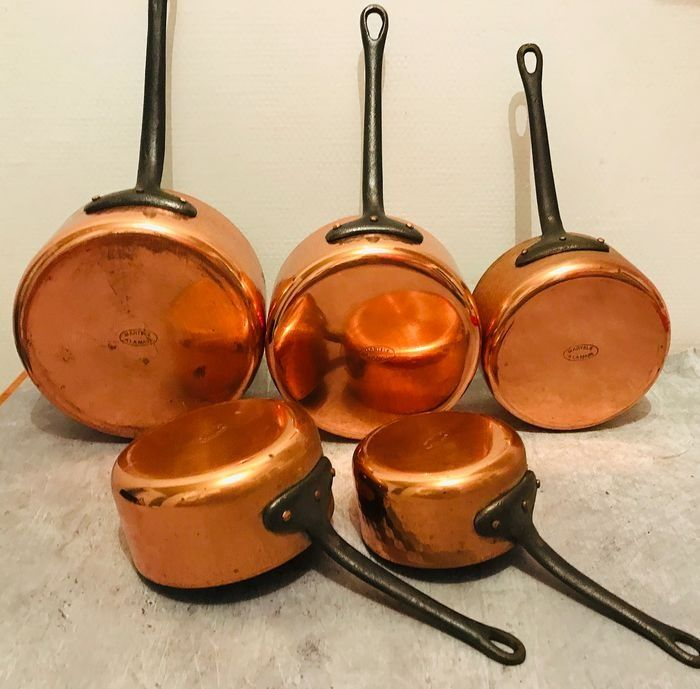 Series special 5 pan hammered by hand New wrought iron handle (5) - Art Deco - Copper, Iron (cast/wrought)