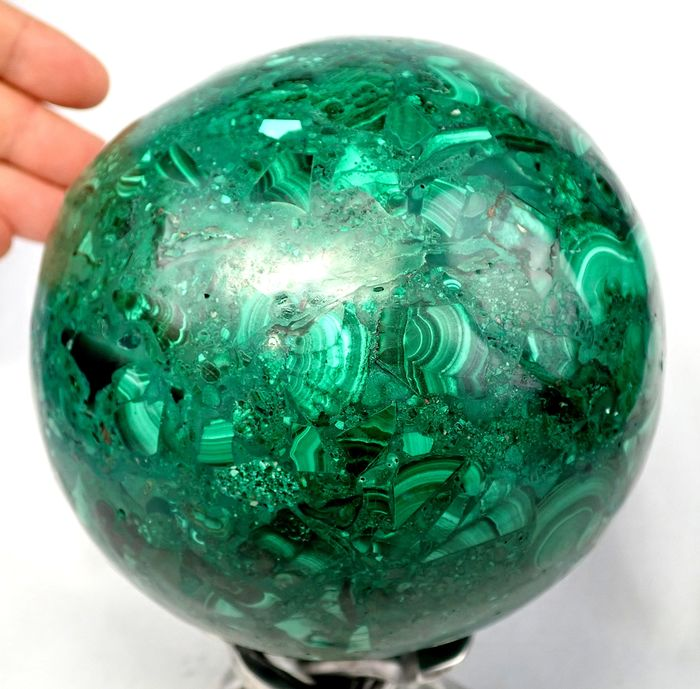 Large First Quality Malachite Sphere - 140×140×140 mm - 3357 g