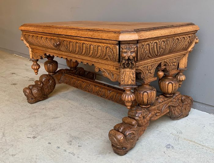 Library table (1) - Renaissance Style - Oak - Late 19th century