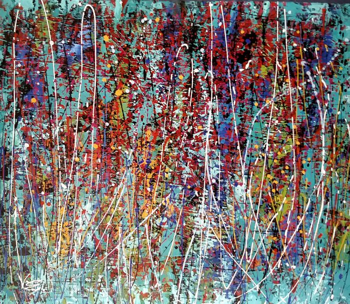 Violeta Endo - Abstract turquoise/red- XL