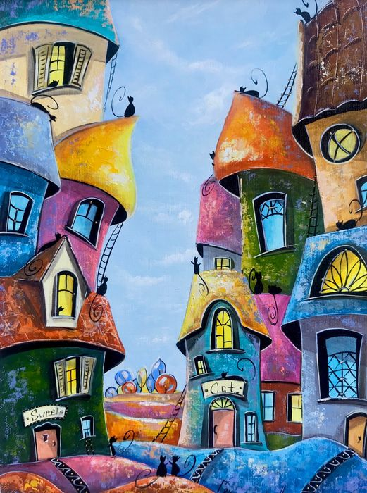 Nataly Grinchenco - Colorful town of cats