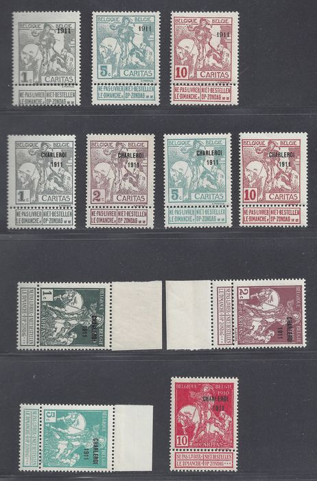 Belgium 1911 - Type Montald with 1911 overprint and a Charleroi set 1911 - OBP / COB 92, 96, 98, 100/107